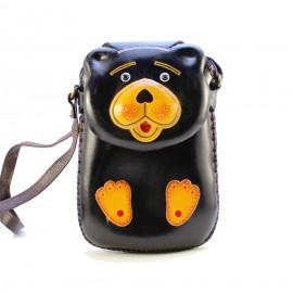 Ay36 black bear rectangle purse